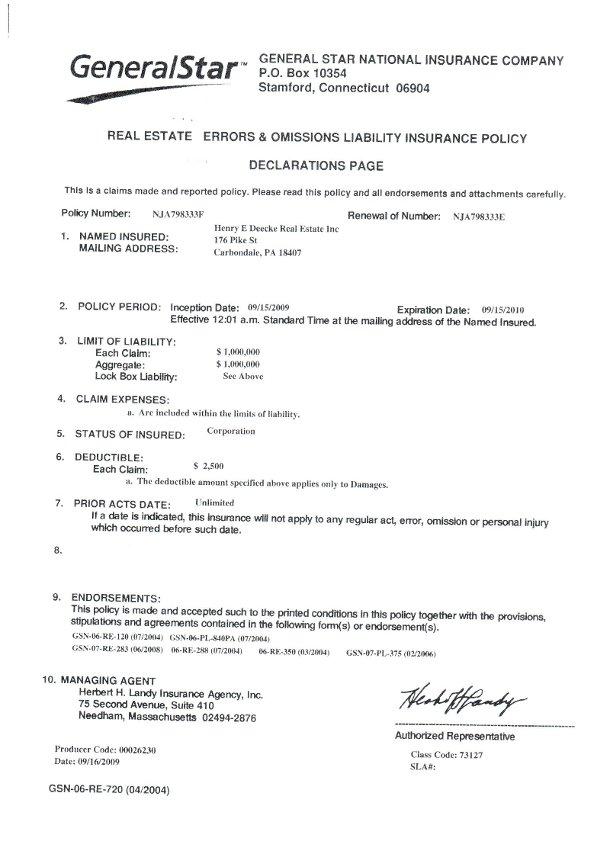 Henry E Deecke Real Estate Appraisals Appraiser Information E – Letter of Appraisal