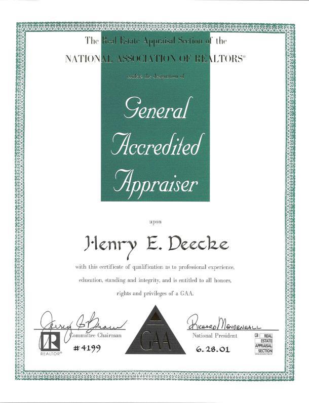 Henry E Deecke Real Estate Appraisals Appraiser Information Gaa