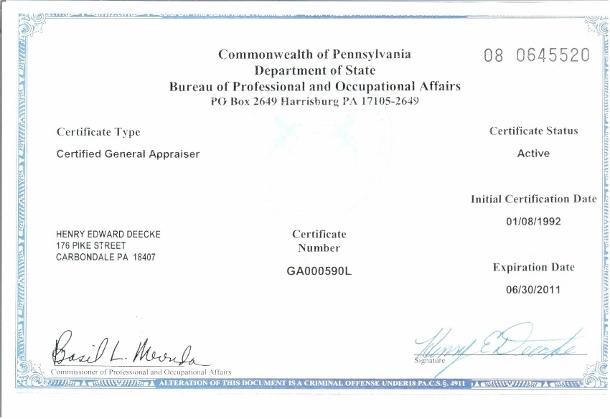 Henry E. Deecke Real Estate Appraisals - Appraiser Information - License