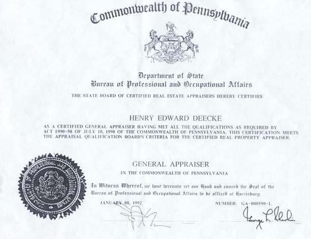 Henry E. Deecke Real Estate Appraisals - Appraiser Information ...