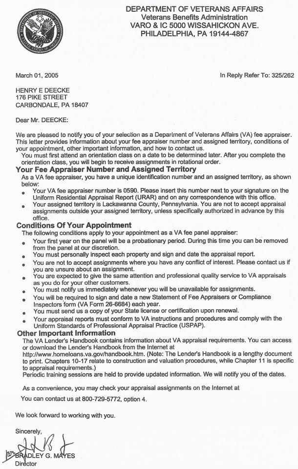 Henry E Deecke Real Estate Appraisals Appraiser Information Va